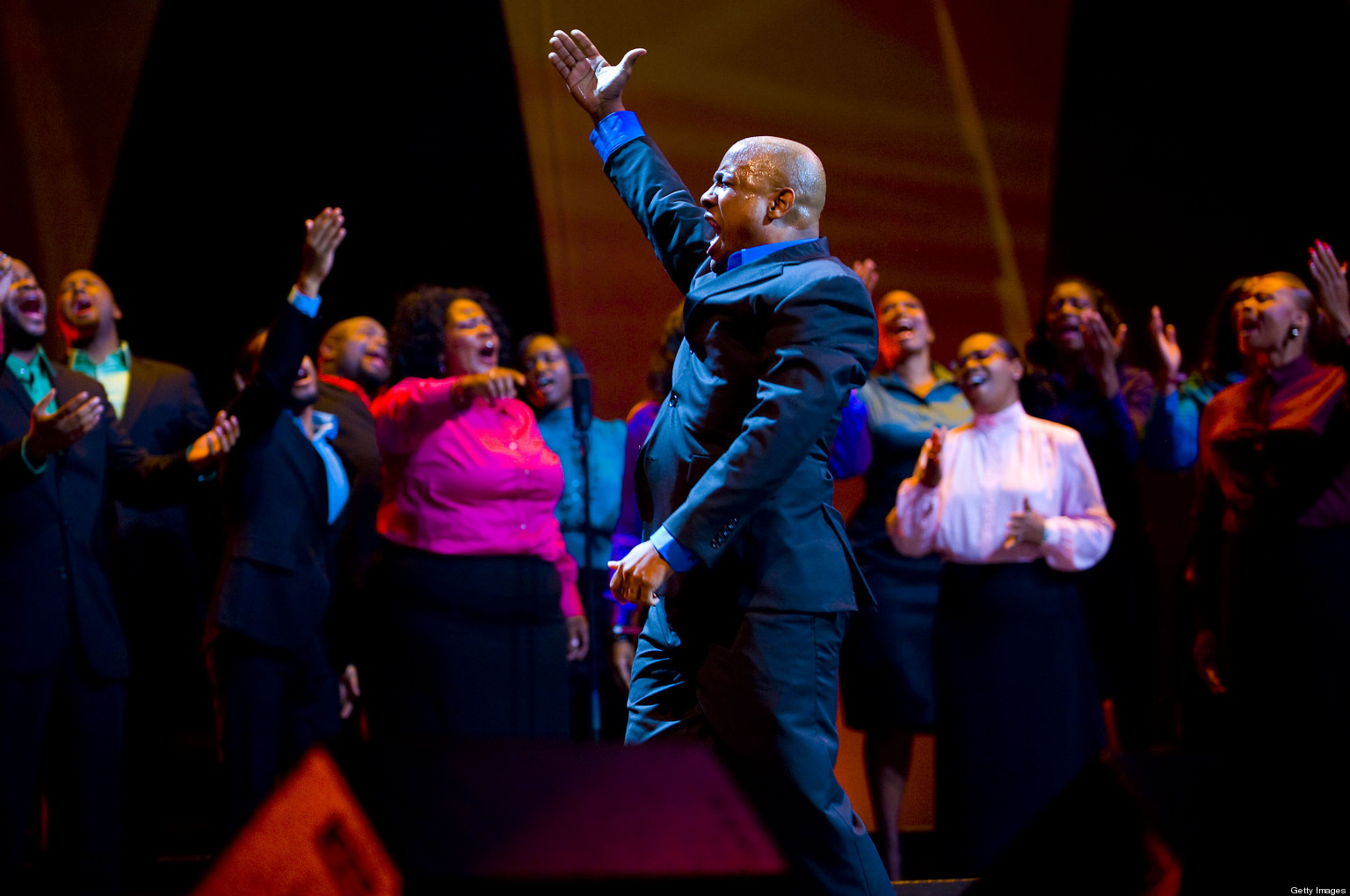 PHILADELPHIA, PA - SEPTEMBER 26: The Anointed Voices of Ford Memorial Temple Choir perform at the Verizon Wireless 'How Sweet the Sound' National Gospel Competition at the Wachovia Center on September 26, 2009 in Philadelphia, Pennsylvania. The Choir was the winner in the Large Choir category. (Photo by Jeff Fusco/Getty Images for Verizon Wireless)